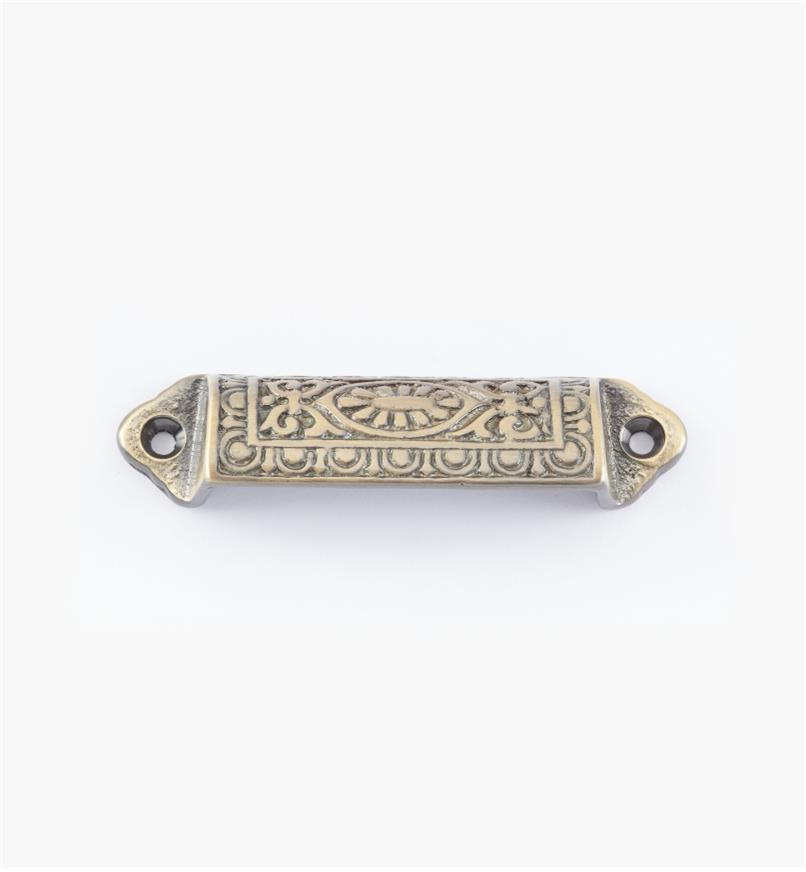 02W2651 - Poignée victorienne de 90mm, fini laiton antique