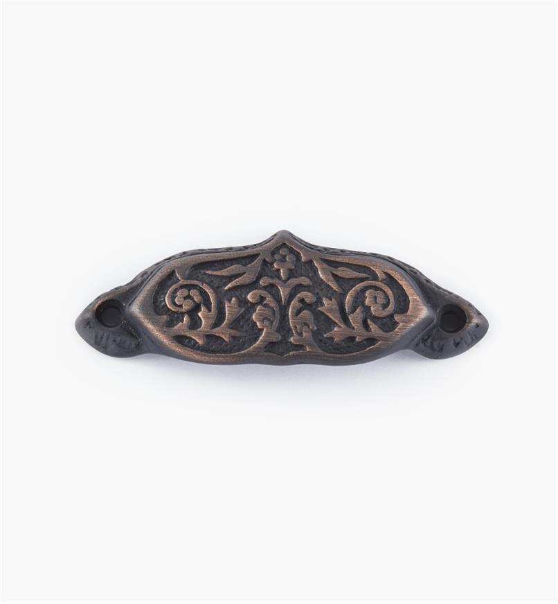 02W2693 - Poignée victorienne de 33/4po, fini vieux bronze