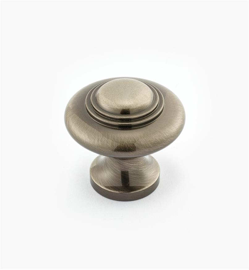 "02W3043 - 1 5/16"" x 1 1/4"" Cast Brass Ring Knob, Antique Nickel"