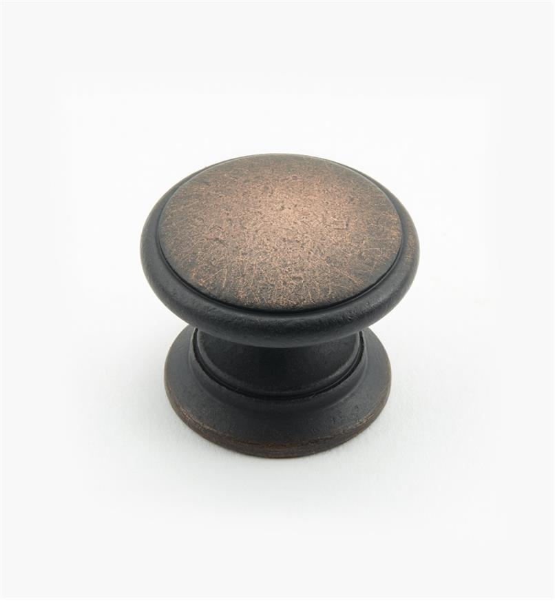 "02W3052 - Weathered Bronze Suite - 1 1/4"" x 1"" Round Brass Knob"