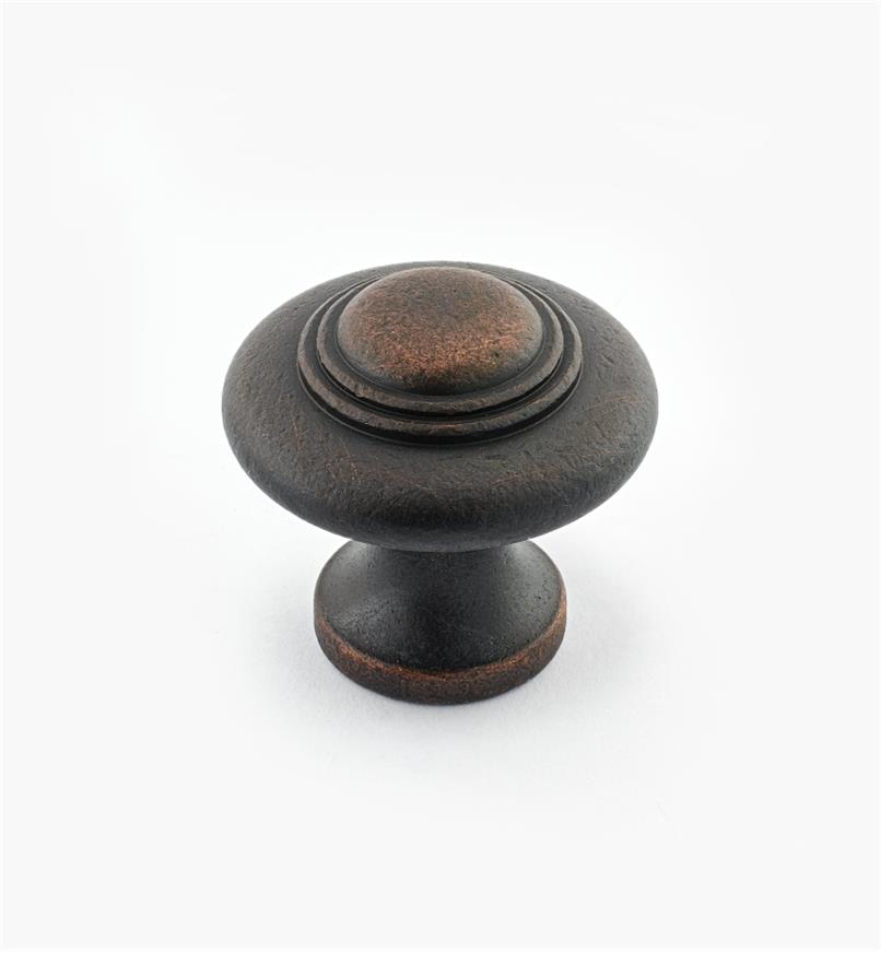 "02W3053 - 1 5/16"" x 1 1/4"" Cast Brass Ring Knob, Weathered Bronze"