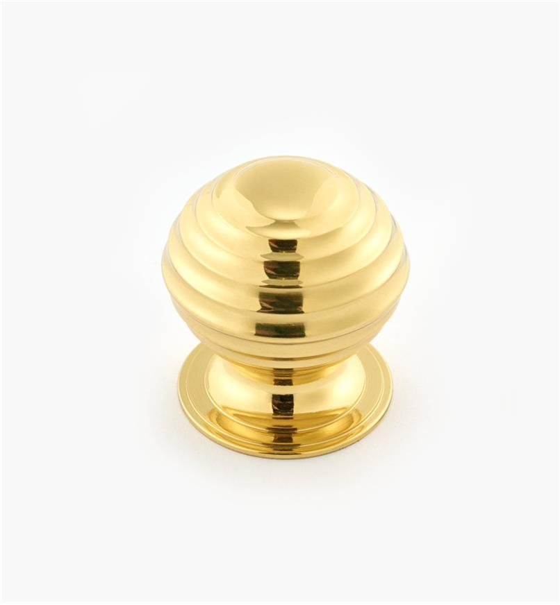 "02W3215 - Polished Brass Suite - 1 1/4"" x 1 1/4"" Turned Brass Ridged Knob"