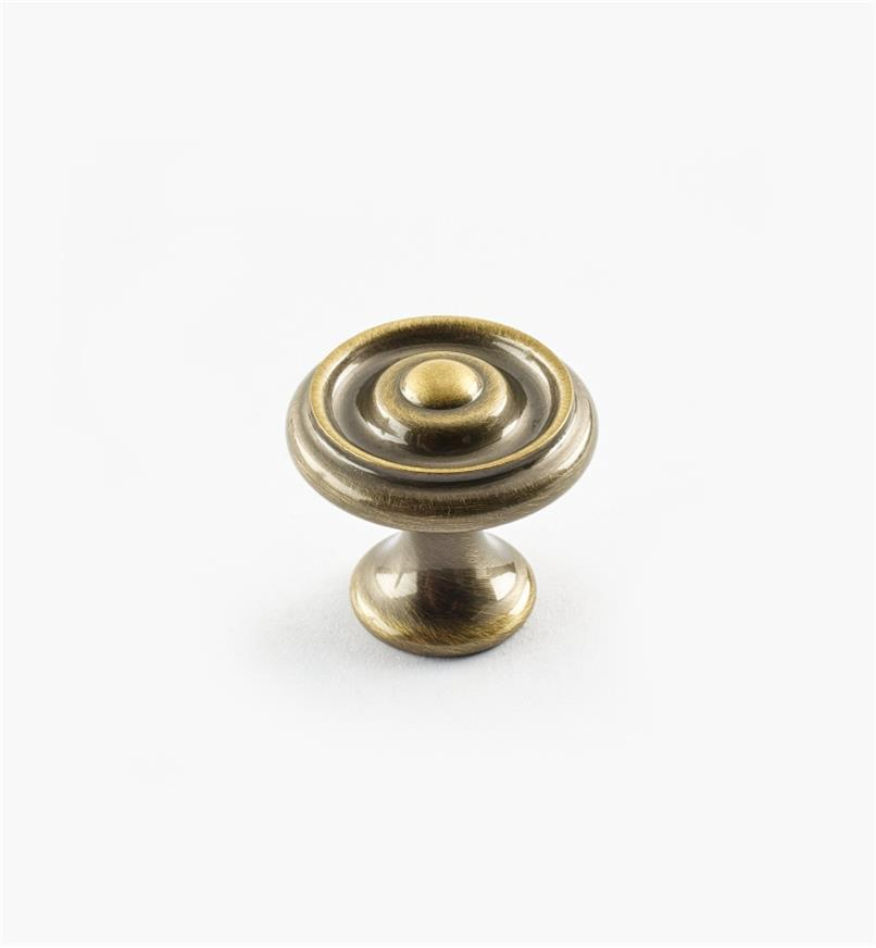 "02W3220 - Antique Brass Suite - 1"" x 7/8"" Turned Brass Raised Knob"