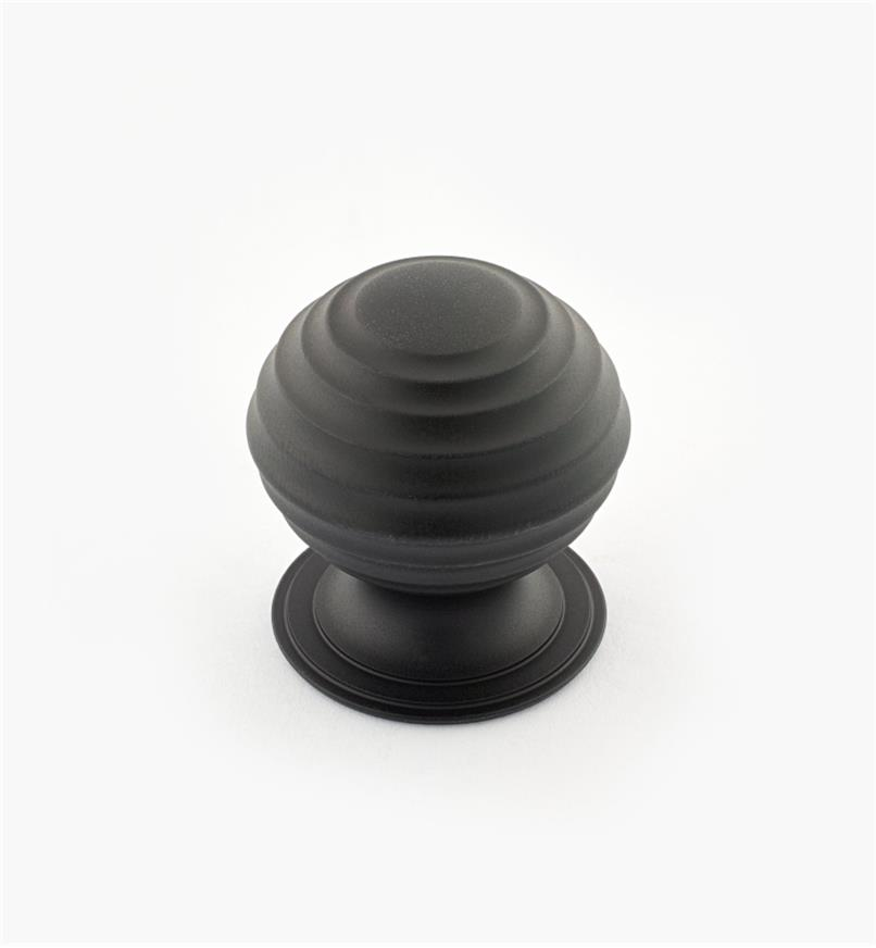 "02W3255 - Oil-Rubbed Bronze Suite - 1 1/4"" x 1 1/4"" Turned Brass Ridged Knob"