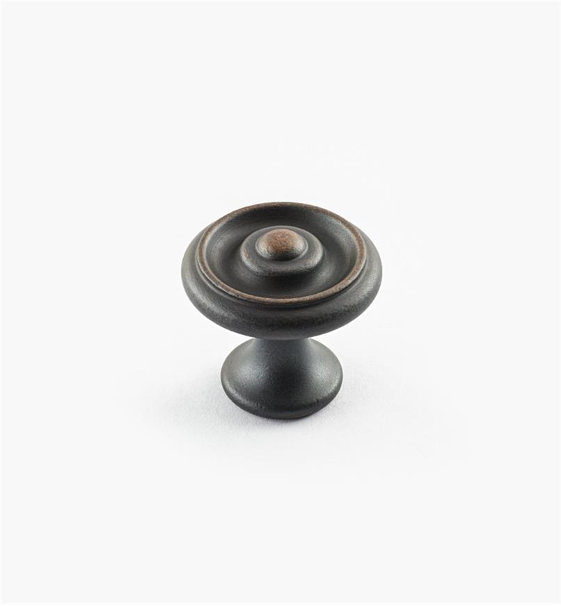 "02W3260 - Weathered Bronze Suite - 1"" x 7/8"" Turned Brass Raised Knob"
