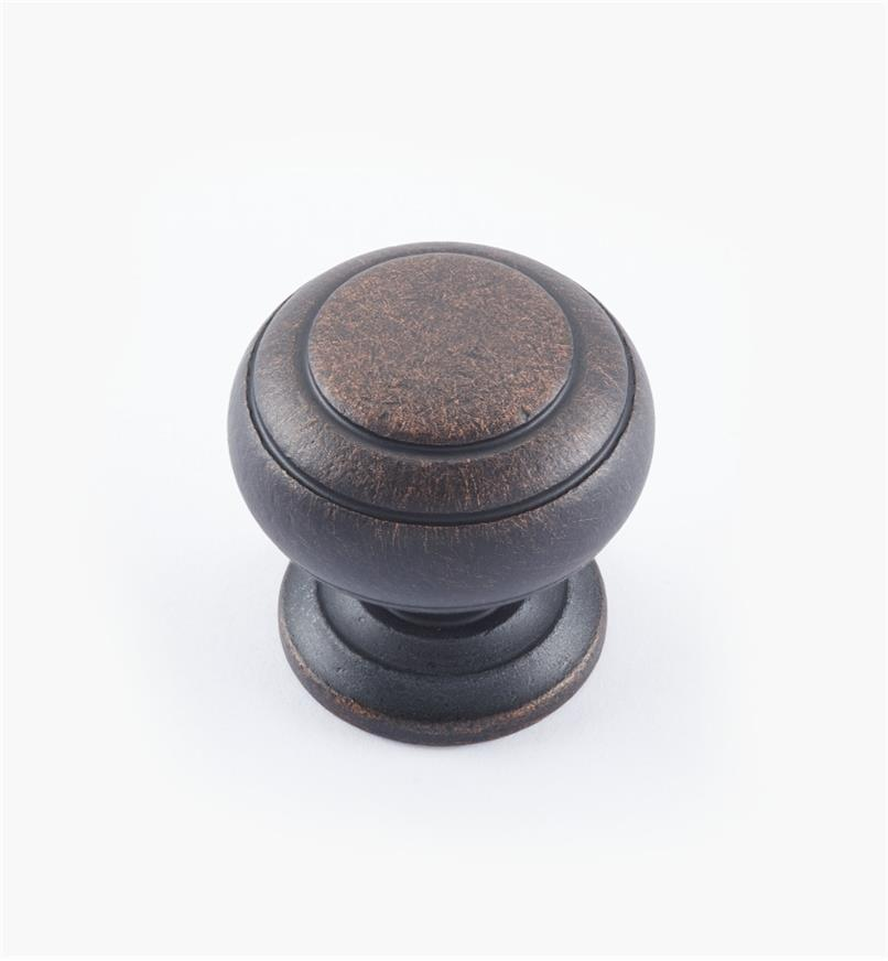 "02W3266 - Weathered Bronze Suite - 1 1/4"" x 1 1/4"" Turned Brass Ring Knob"