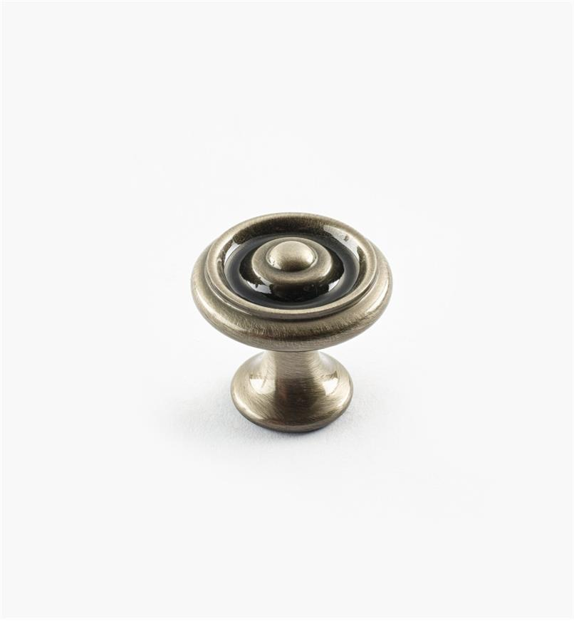 "02W3300 - Antique Nickel Suite - 1"" x 7/8"" Turned Brass Raised Knob"