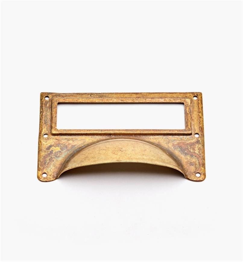 01A5730 - Porte-étiquette à poignée en laiton, laiton ancien