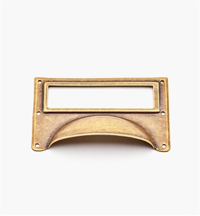 01A5734 - Porte-étiquette à poignée en laiton, laiton antique