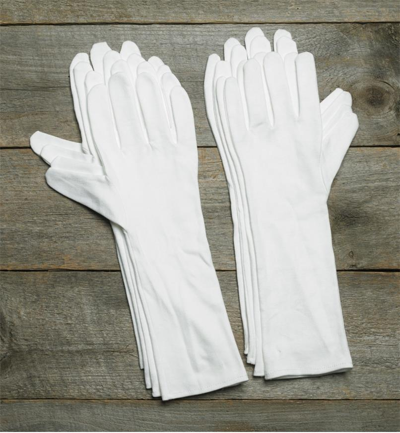 09A2058 - Medium Extra-Long Cotton Glove Liners (size 8), pkg. of 8