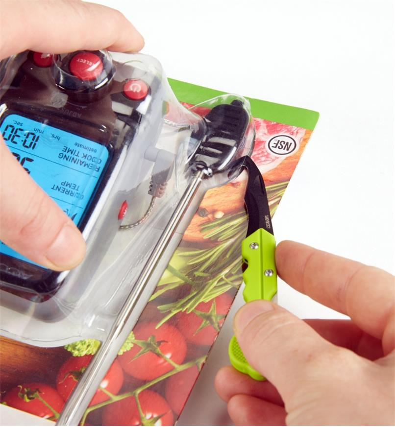 Opening plastic packaging with the Keychain Safety Cutter