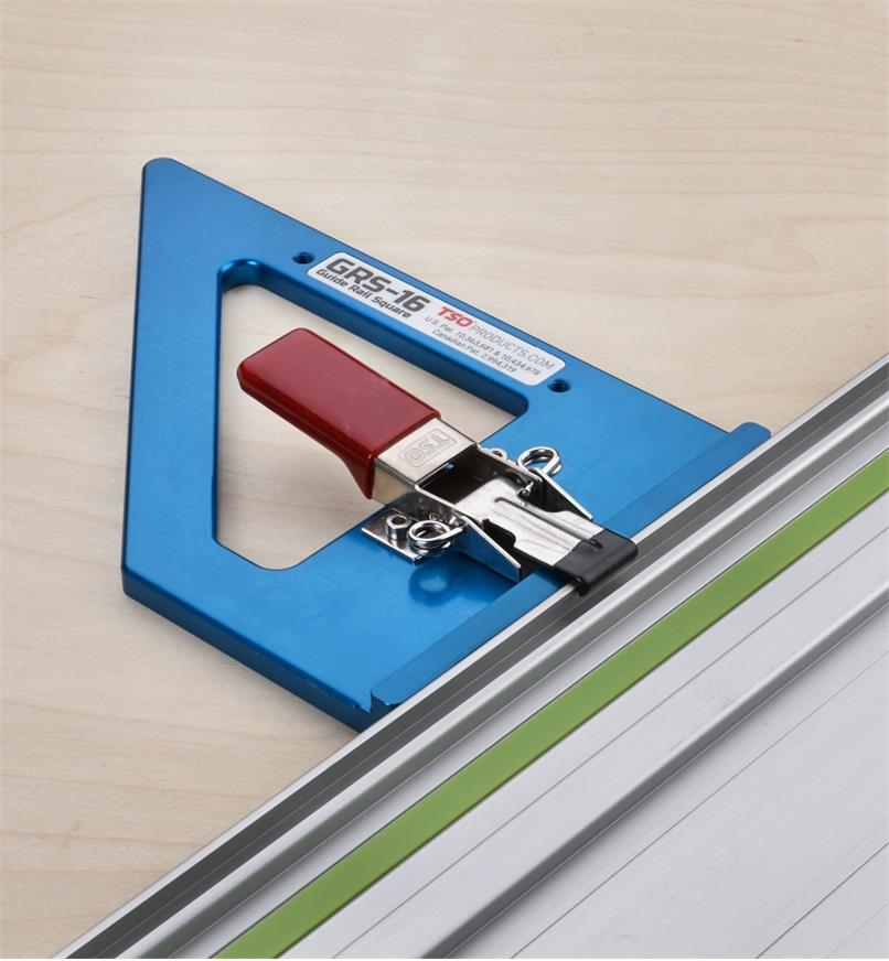 A view of the GRS-16 guide rail square showing the draw clamp used to mount it on a guide rail