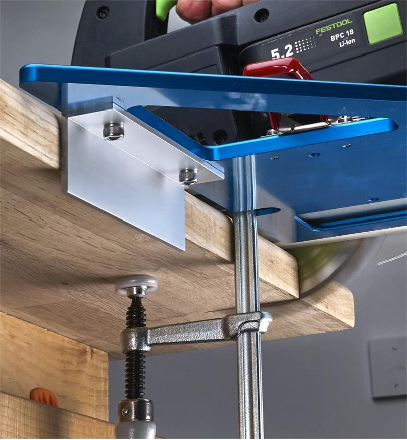 "A 6"" angle accessory mounted on a GRS-16 guide rail square to aid registration on a profiled edge"