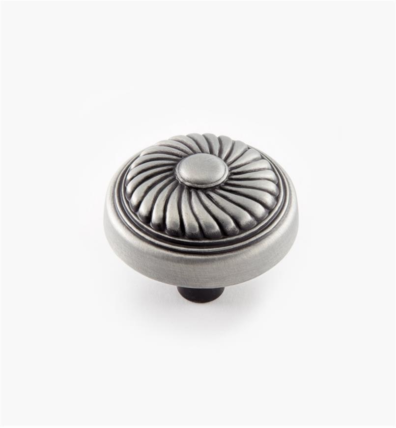 "03W2996 - 1 1/4"" × 1"" Satin Pewter Swirl Knob, each"