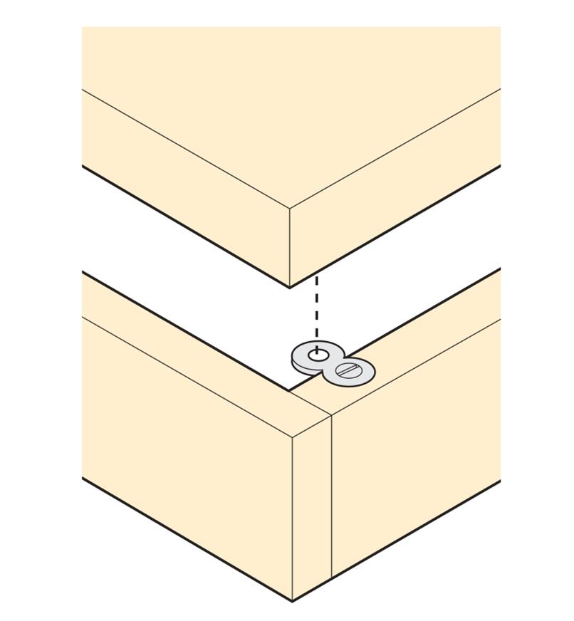 Illustration showing how Figure 8 Connector connects an apron to a skirt