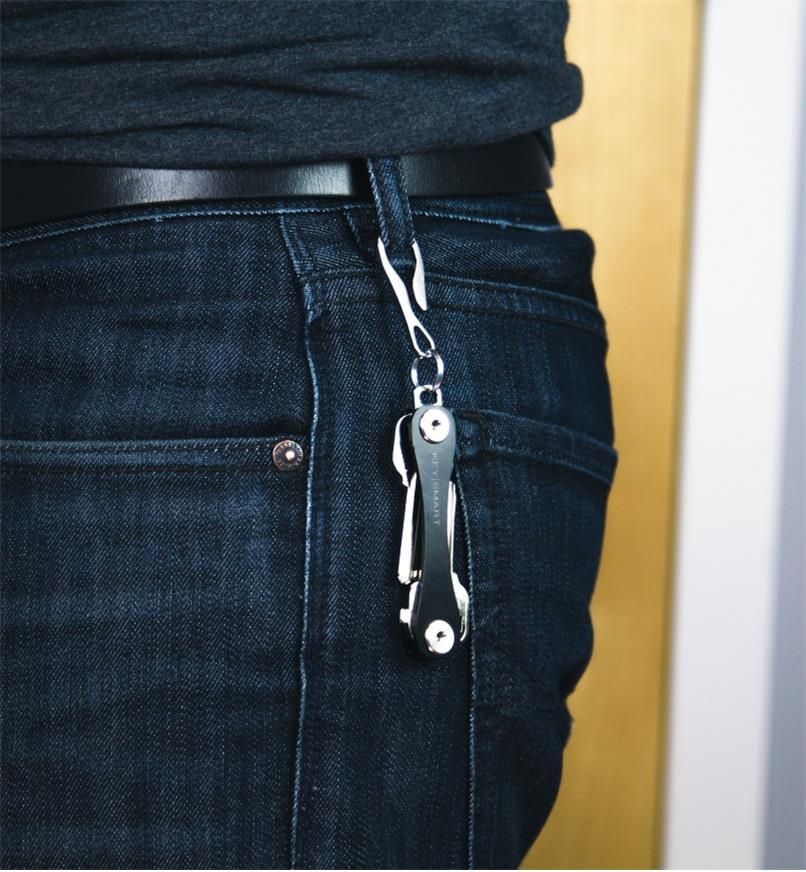 KeySmart Dangler attaching a KeySmart holder to a jeans belt loop