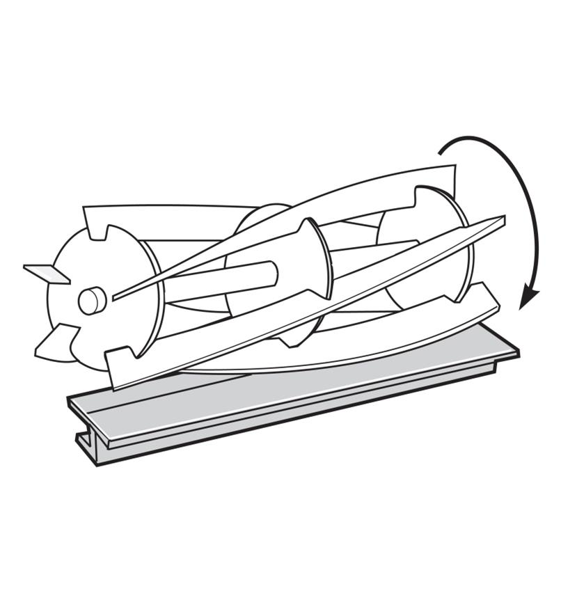 Illustration of mower blades turning against the Cylinder Sharpener
