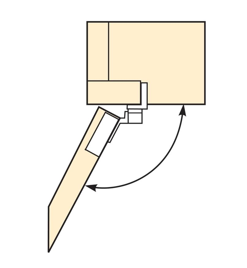 Diagram of edge-mount hinge opening 110°