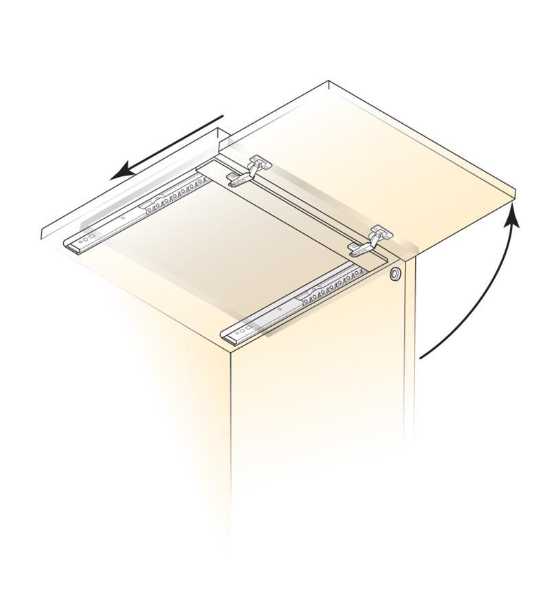 Diagram shows Concealed Door Slides installed on a horizontal cabinet door