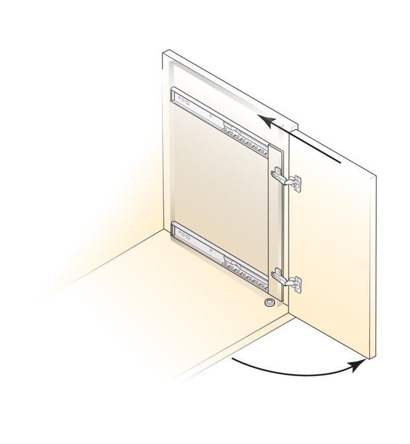 Diagram shows Concealed Door Slides installed on a vertical cabinet door