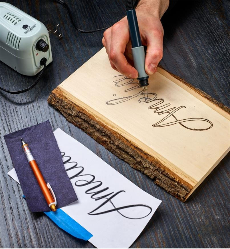 Burning a name onto a live-edge wood plaque