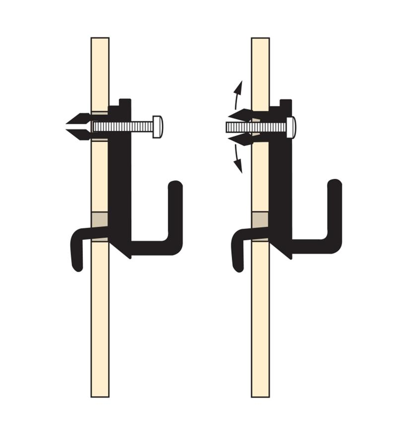 Illustration shows how the hook's anchor spreads behind the pegboard as the screw goes in
