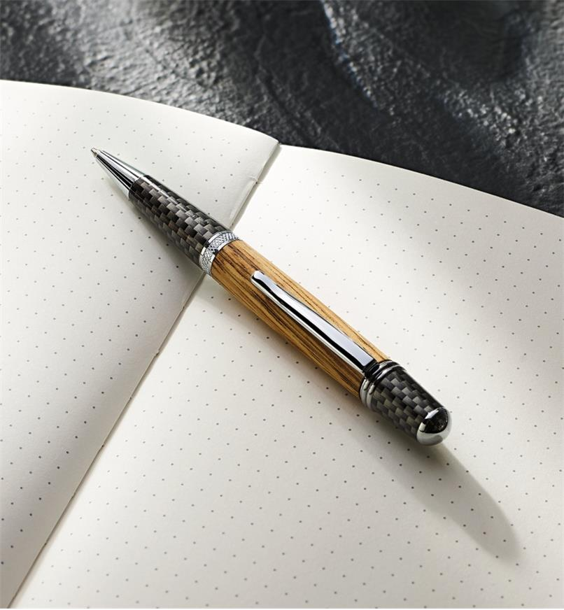 Example of a Sierra Nomad chrome pen turned from a wood blank