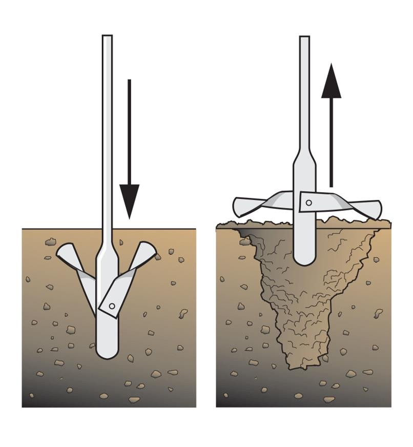 Illustration shows the wings unfolding as the aerating tool is pulled out of the compost