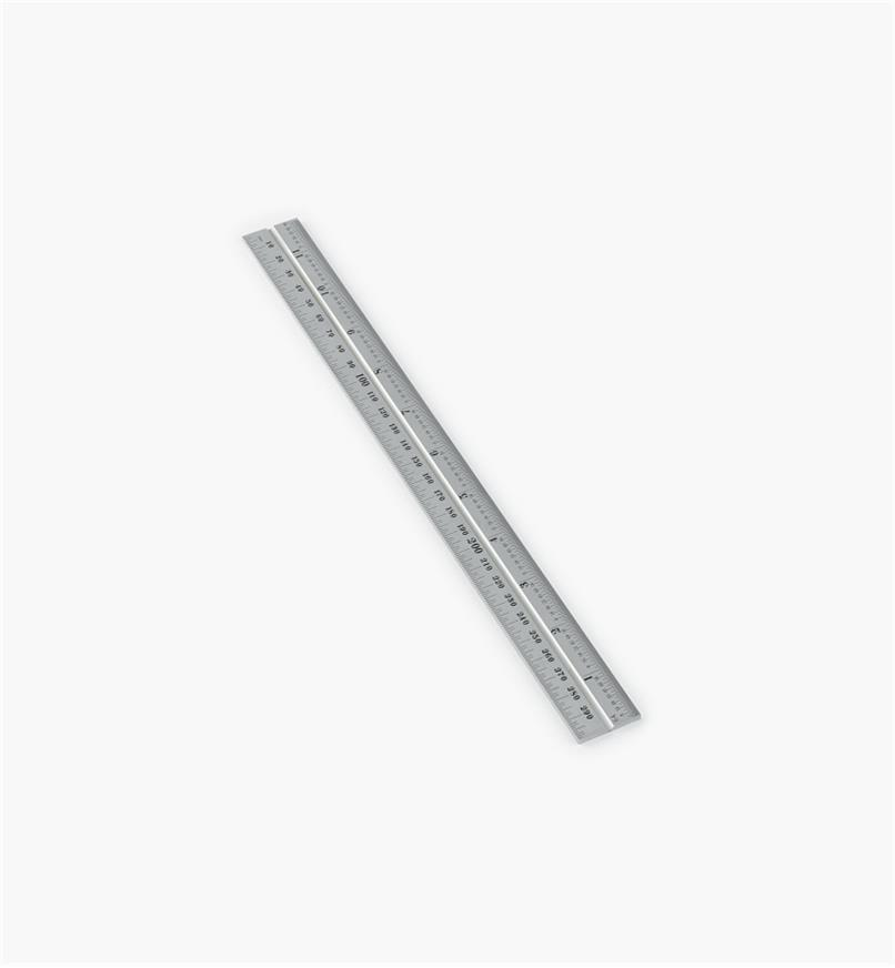 "30N3150 - Starrett 11 3/4""/300mm Imperial/Metric Chrome Rule for 12""/300mm Square, Protractor & Center-Finding Heads"