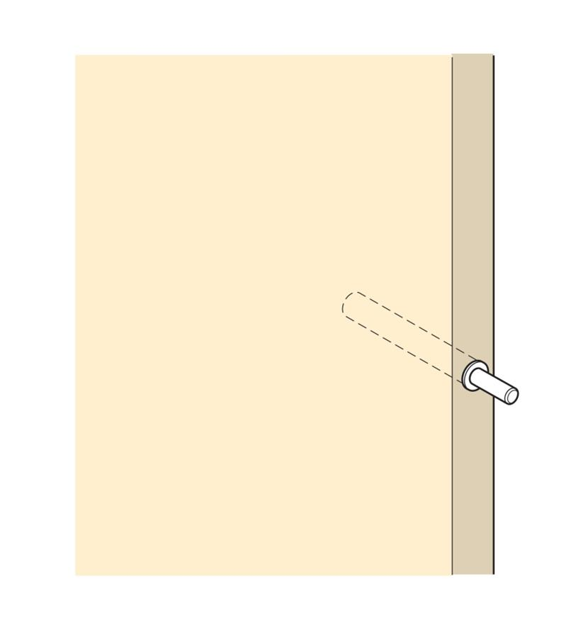 Illustration shows how to install Blumotion cylinder in a hole drilled in a cabinet