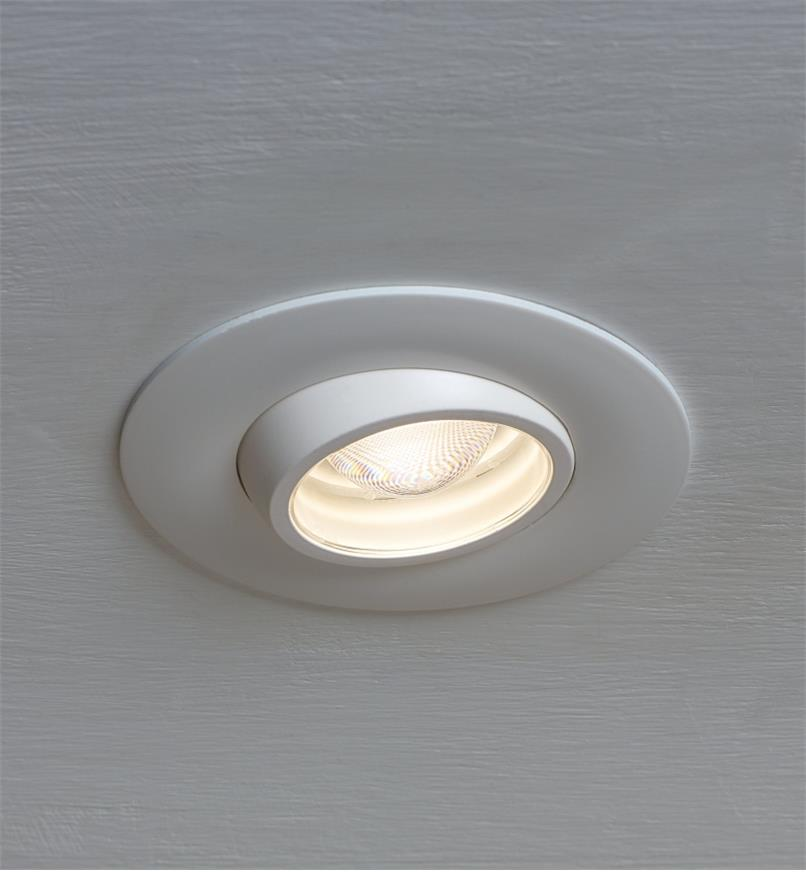 Adjustable-Beam LED Spotlight installed in a ceiling