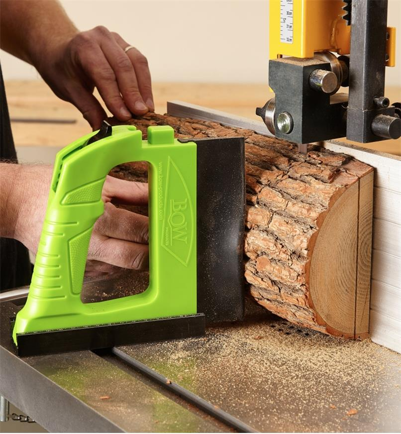 GuidePRO bandsaw guide used for resawing a short log