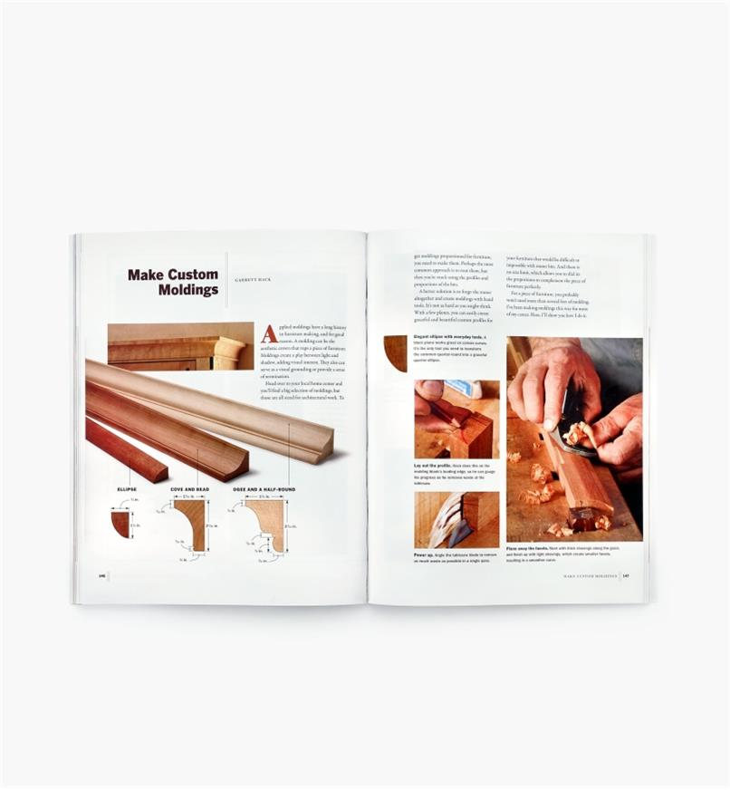 Two-page spread in Woodworking with Hand Tools showing diagrams and techniques for making custom moldings