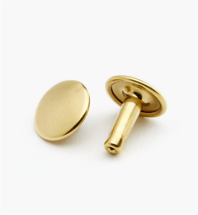 91Z5129 - ABC Morini Double-Capped Brass 11mm Large Rivets, pkg. of 25