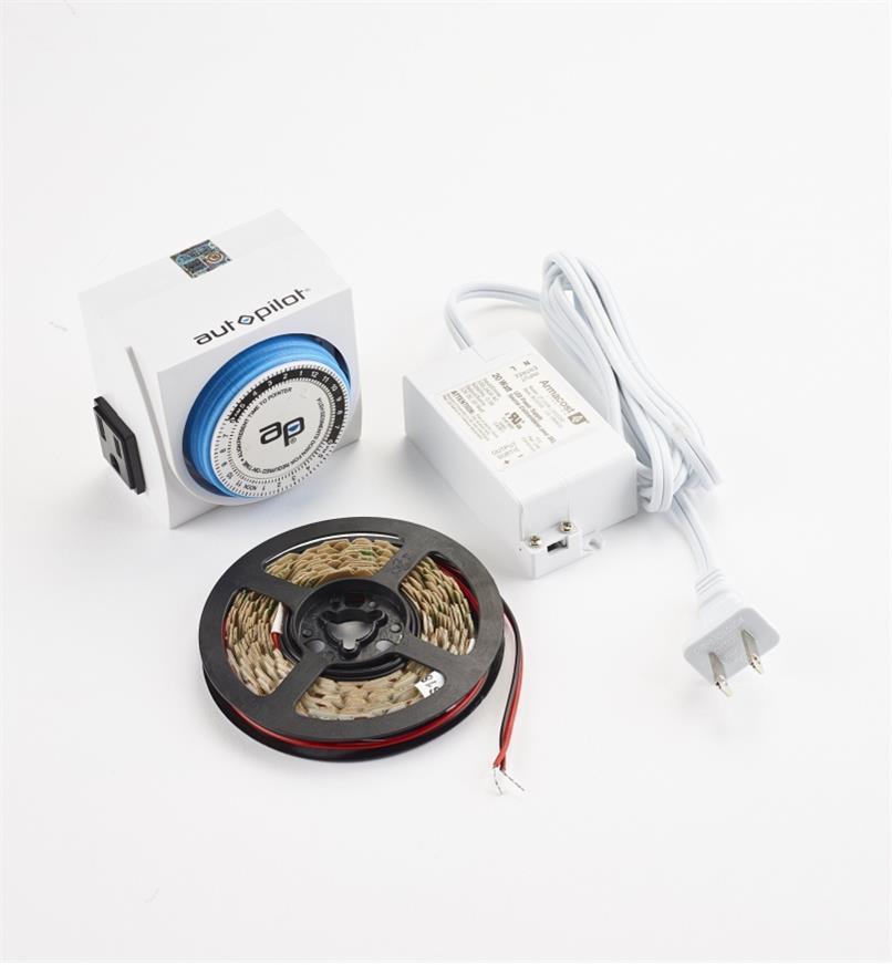 00U4666 - Ensemble de luminaire-ruban de serre à DEL GroFlex avec minuterie à prise double, 8 pi