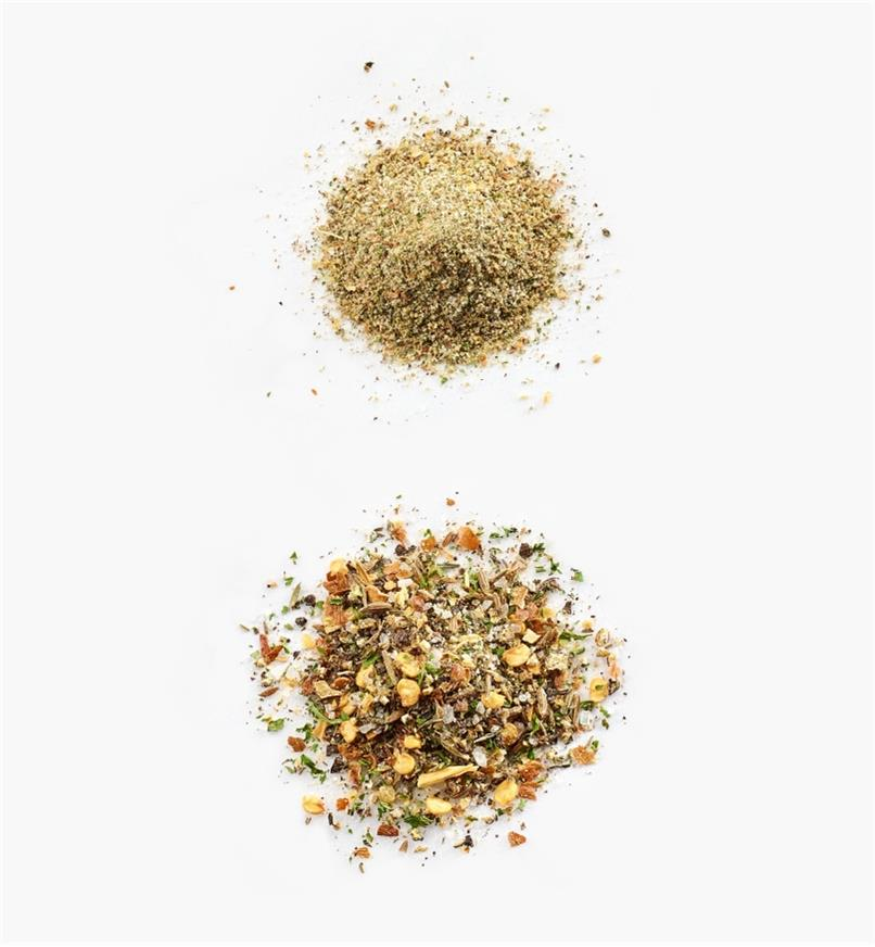 Pile of finely ground spices next to a pile of coarsely ground spices to show range