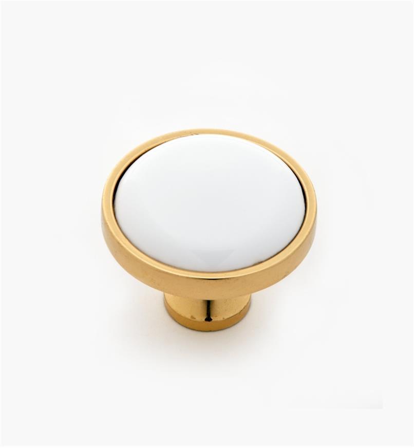 """03W3015 - 1 1/4"""" x 1"""" Belwith Polished Brass Round Knob"""