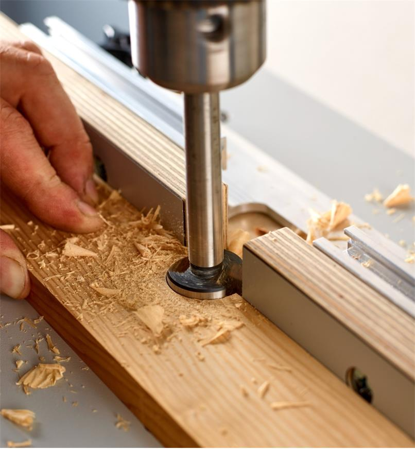 Sub-fences on the Veritas small drill-press table opened to allow off-edge drilling
