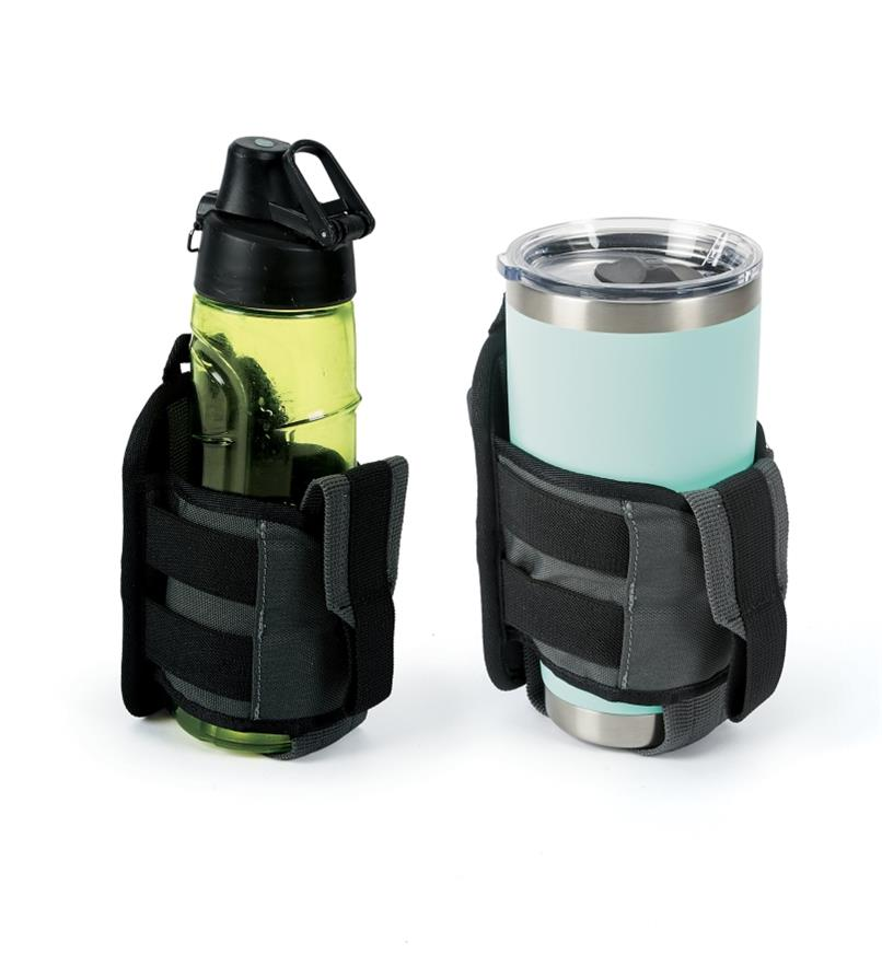 Two Drink Holsters holding different-sized bottles
