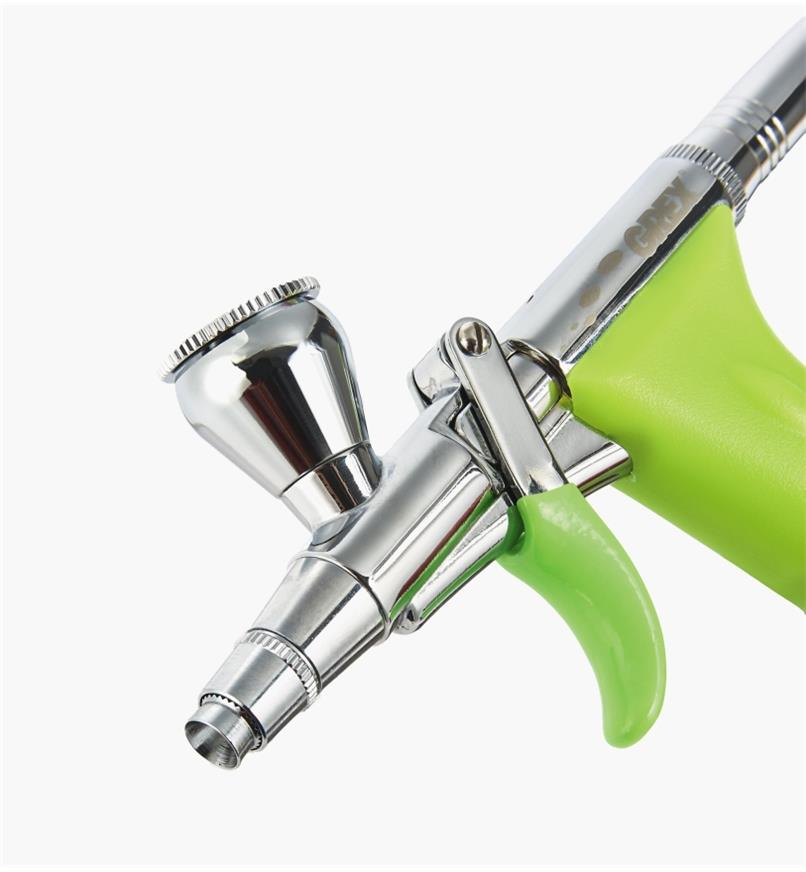 Grex airbrush nozzle with top cup angled forward