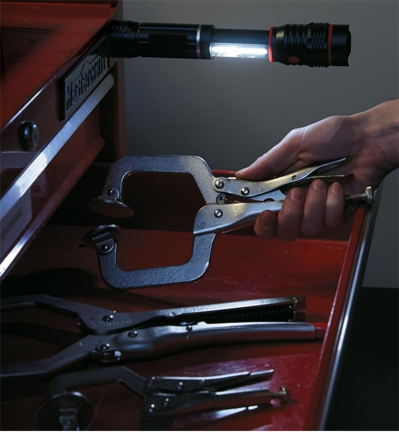 Magnet-Mount LED Task Light/Flashlight mounted on a tool cabinet