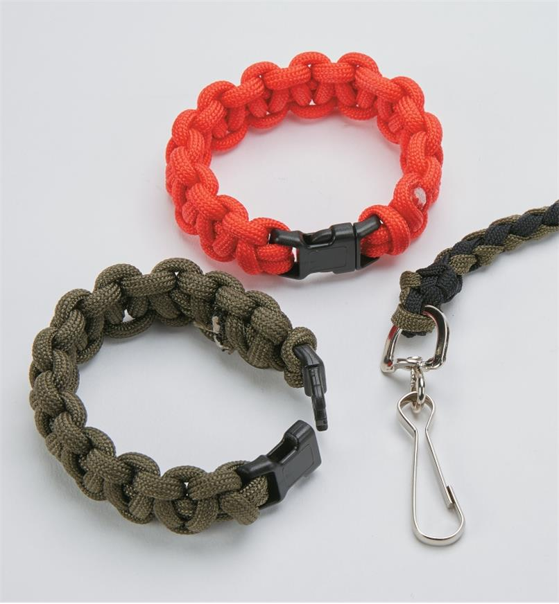 Examples of buckles and a swivel clasp used to make paracord projects