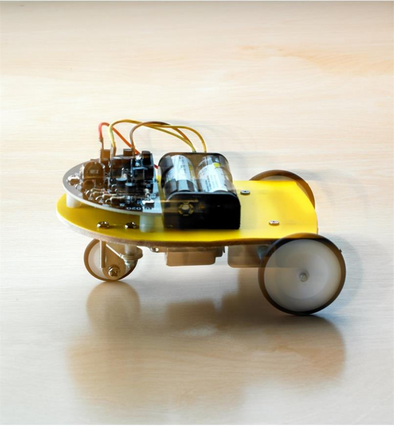 The assembled Elenco WEmake robot car in motion