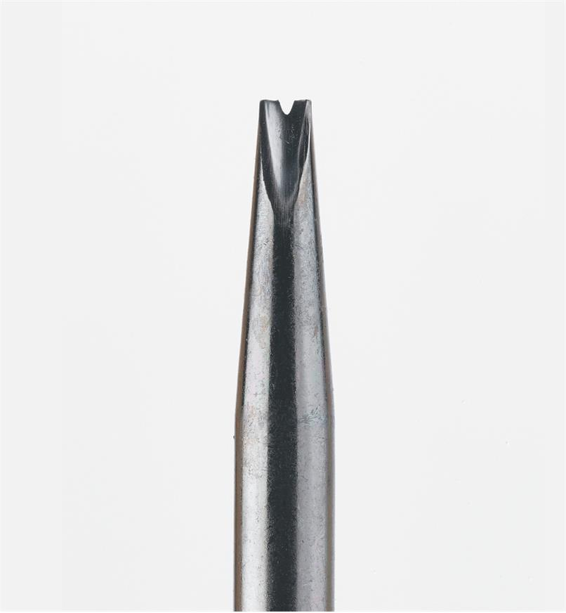 Close-up of edger blade