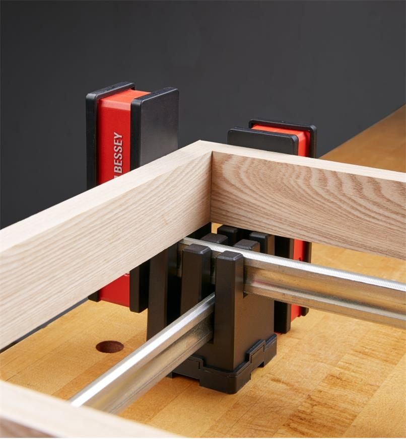 Bessey KP block used to hold two clamps criss-crossed for holding a corner piece