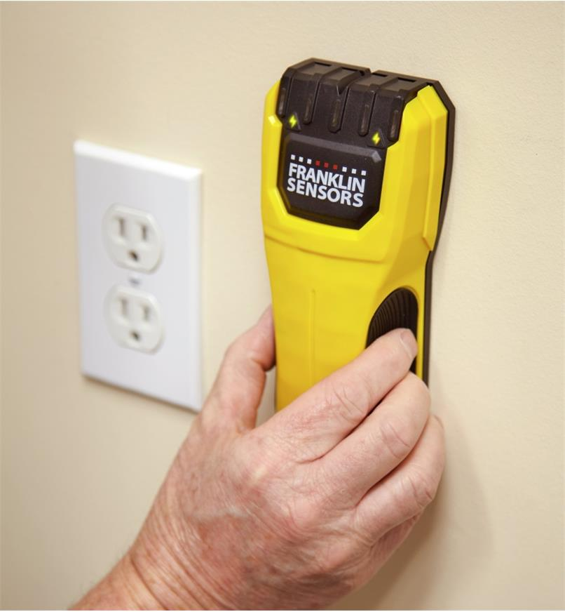 The Franklin M50 stud detector detects the presence of live electrical wires behind a wall