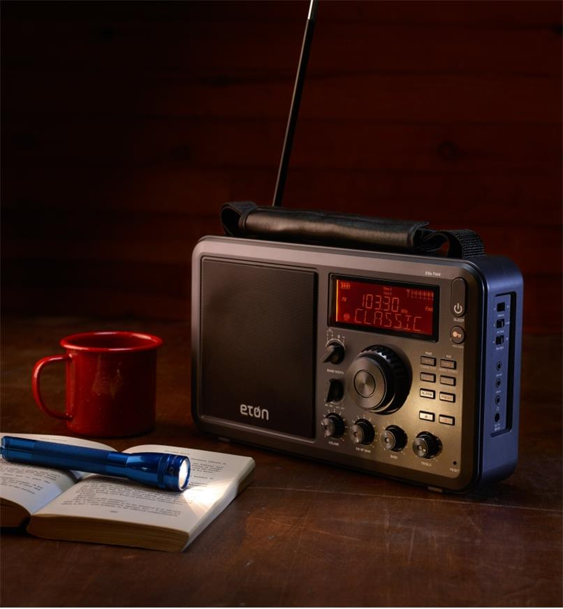 Eton AM/FM shortwave radio in a remote cabin