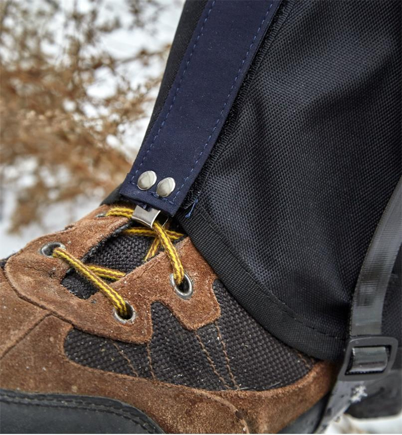 The lace hook on the nylon gaiter is reinforced with rivets for strength
