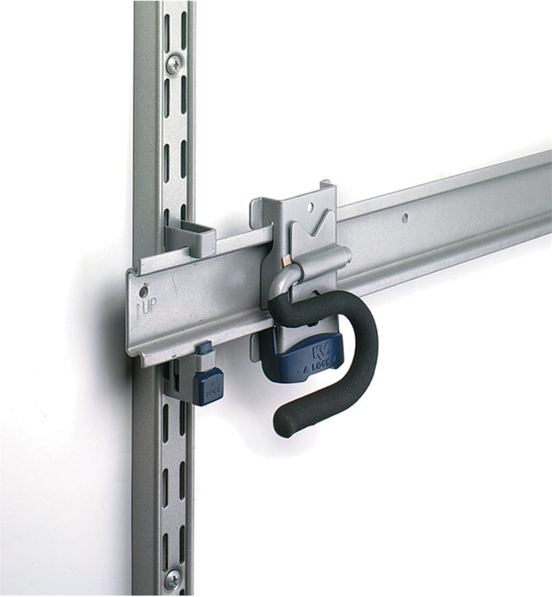 Close-up of Hang Rail Adapter used to mount a hang rail to a standard