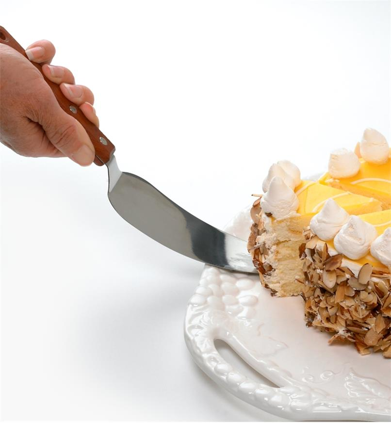 Lifting a slice of cake with the Classic Cake Knife and Server